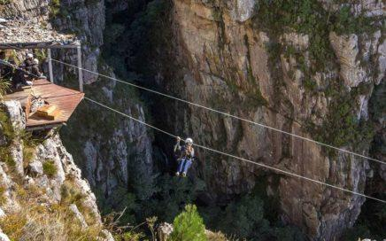 Ziplining to a mountain platform
